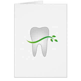 Tooth with green leaves card