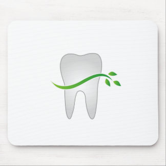 Tooth with green leaves mouse pad