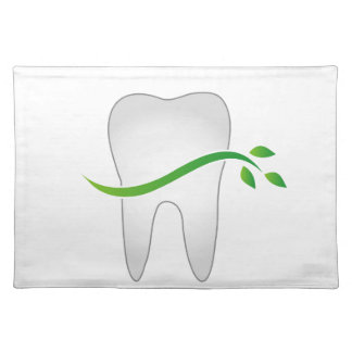 Tooth with green leaves place mats