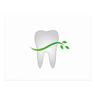 Tooth with green leaves postcard