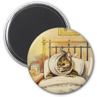 Toothache Kitty Artwork by Louis Wain 2 Inch Round Magnet