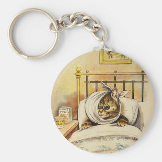 Toothache Kitty Artwork by Louis Wain Keychain