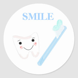 Toothbrush and Smiley Tooth Classic Round Sticker