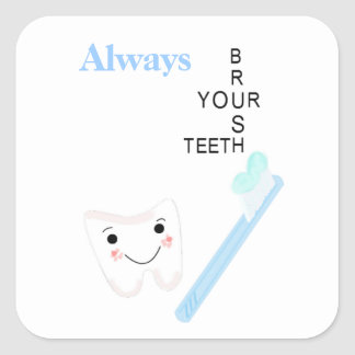 Toothbrush and Smiley Tooth with Message Square Sticker