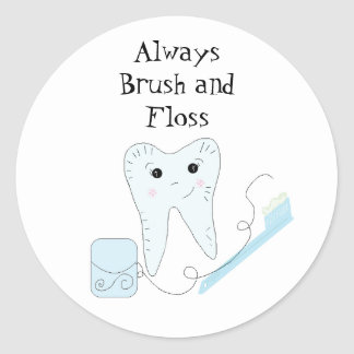 Toothbrush and Tooth Cute Dental Reminder Round Sticker