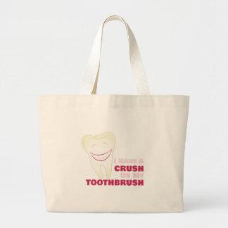 Toothbrush Crush Large Tote Bag