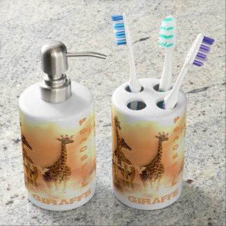Toothbrush Holder & Soap Dispenser Unique Giraffes