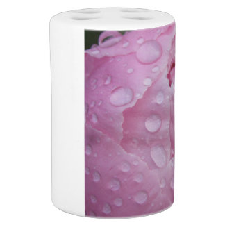 Toothbrush owner - water drops on peony bath set