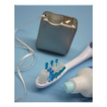 Toothbrush, toothpaste and floss. print