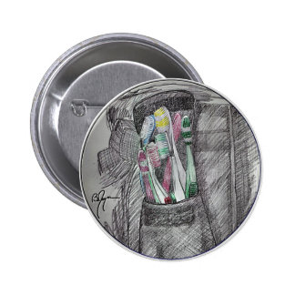 Toothbrushes 2 pinback button