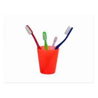 Toothbrushes and cup postcard
