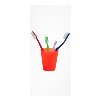 Toothbrushes and cup rack card