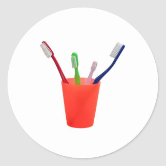 Toothbrushes and cup round stickers