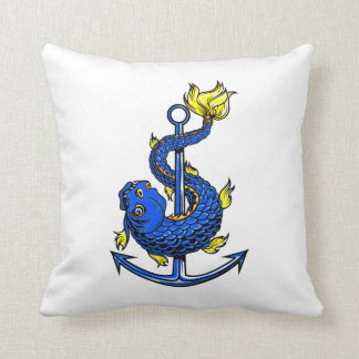 toothed blue fish around anchor.png throw pillow