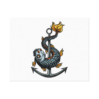 toothed fish around anchor.png canvas print
