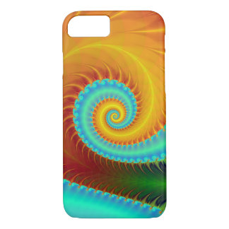 Toothed Spiral in Turquoise and Gold iPhone 7 Case