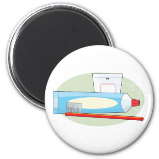 Toothpaste and Brush 2 Inch Round Magnet