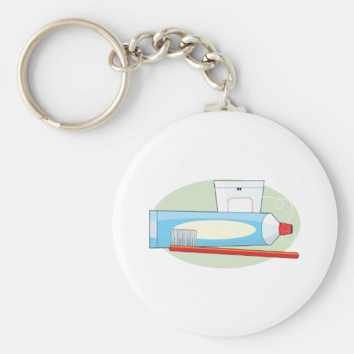 Toothpaste and Brush Basic Round Button Keychain