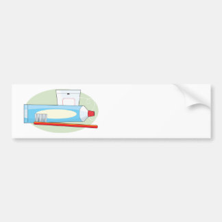 Toothpaste and Brush Car Bumper Sticker
