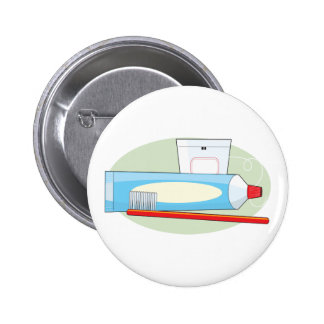 Toothpaste and Brush Pinback Buttons