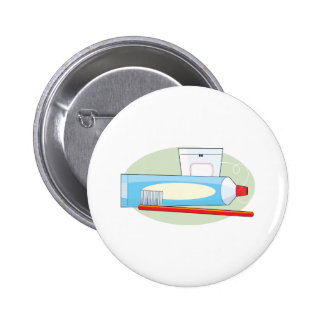 Toothpaste and Brush Pinback Button