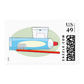 Toothpaste and Brush Postage Stamp