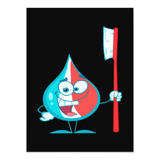 Toothpaste Character Holding A Toothbrush 6.5x8.75 Paper Invitation Card