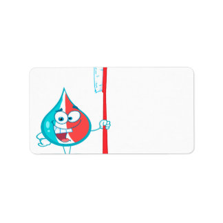 Toothpaste Character Holding A Toothbrush Address Label
