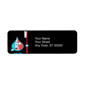 Toothpaste Character Holding A Toothbrush Return Address Labels