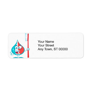 Toothpaste Character Holding A Toothbrush Return Address Label