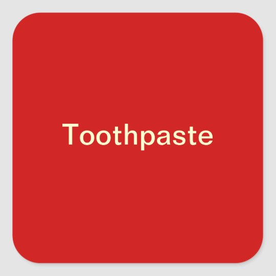 Toothpaste Label/ Square Sticker