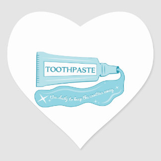 Toothpaste use daily to Keep Cavities Away Heart Sticker