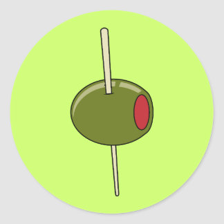 toothpicked olive classic round sticker