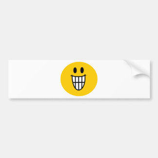 Toothy grin smiley bumper sticker