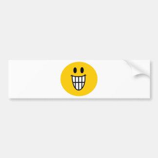 Toothy grin smiley car bumper sticker