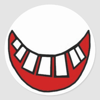Toothy smile in red with outline classic round sticker