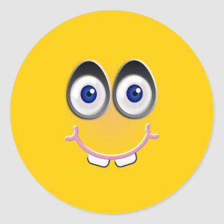 toothy smile - yellow classic round sticker