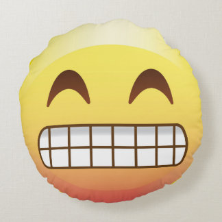 Toothy Smile Yellow Emoji Face Pillow