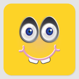 toothy smile - yellow square sticker