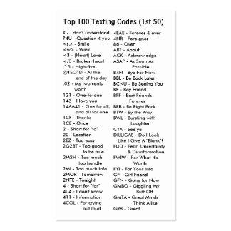 Top 100 Texting Codes Double-Sided Standard Business Cards (Pack Of 100)