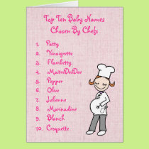 Top 10 Chef Baby Girl Names Card