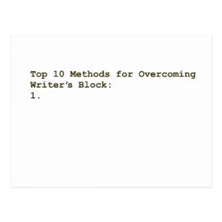 Top 10 Methods for Overcoming Writer's Block Postcard