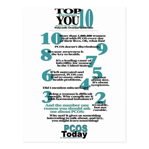 Top 10 PCOS Reasons Postcard
