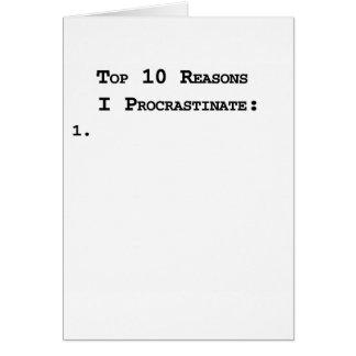 Top 10 Reasons I Procrastinate Card