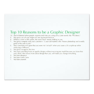 Top 10 Reasons to be a Graphic Designer 4.25x5.5 Paper Invitation Card