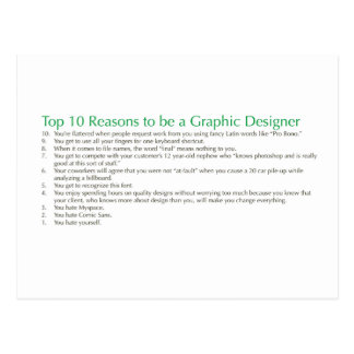 Top 10 Reasons to be a Graphic Designer Post Card