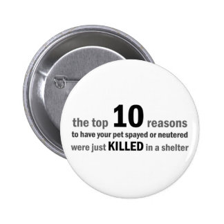 Top 10 Reasons to Spay or Neuter Pinback Button