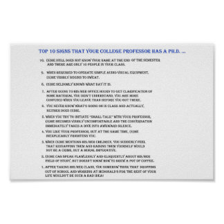 Top 10 signs your professor has a Ph.D.