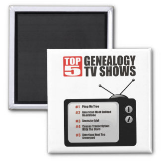 Top 5 Genealogy TV Shows 2 Inch Square Magnet