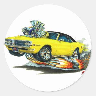 Top Amarillo-Negro 1967-68 de Firebird Pegatina Redonda